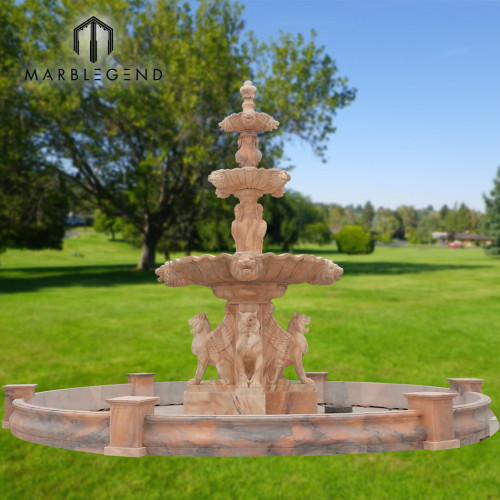 Fuente de fábrica de PFM fuente de agua de mármol grande de tres niveles estatua de león de mármol