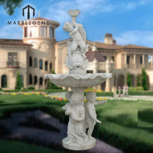 Fuente de agua de mármol blanca natural al aire libre del precio de fábrica con de alta calidad