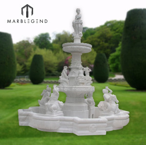 Large tropical style marble water fountain for outdoor garden use