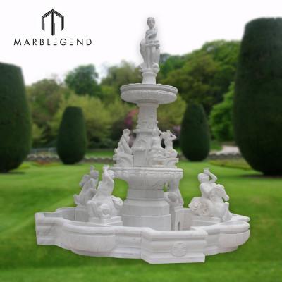 Gran fuente de agua de mármol de estilo tropical para uso en jardines al aire libre