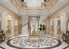 Luxury Villa Waterjet marble Flooring design