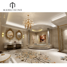 Master suite baño mármol waterjet medallón diseño 3D