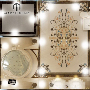 Master suite bathroom marble waterjet medallion 3D design