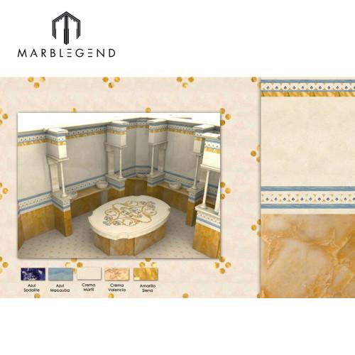 Complejo de chorro de agua medallón de mármol con diseño en 3D
