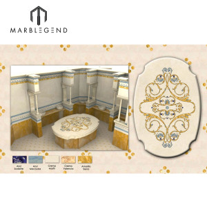 Complex waterjet medallion marble flooring 3D design