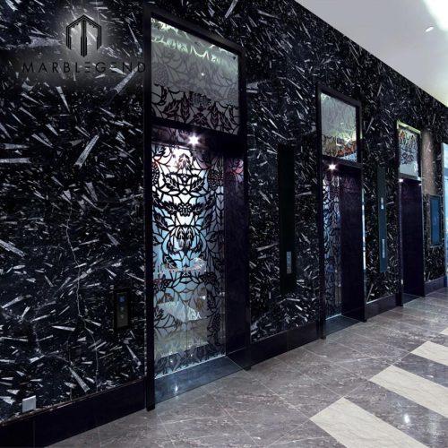 PFM Morocco Black Black Fossil Marble Slabs لتزيين الجدران والأرضيات
