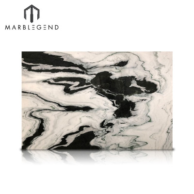 Bookmatch Featured Wall Pattern in Panda White Marble Tiles