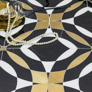 Роскошный стиль дизайна пола латунь инкрустация водоструйная мозаика