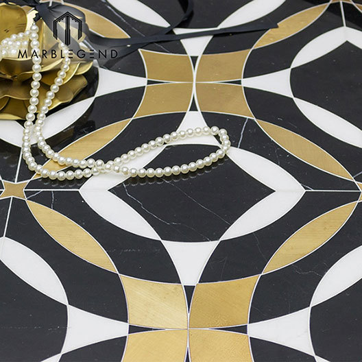 Luxury style flooring design brass inlay waterjet Mosaic Tile