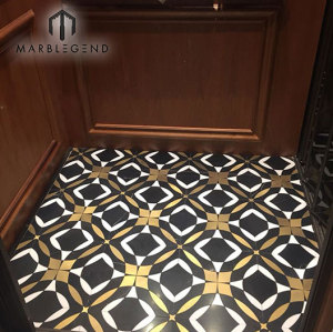 Luxury style brass inlay waterjet Mosaic Tile for kitchen