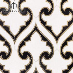 Azulejo de mosaico waterjet con incrustaciones de latón de estilo de lujo para cocina