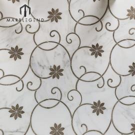 Azulejo de mosaico de chorro de agua de mármol pulido gris floración helada para decoración de pared