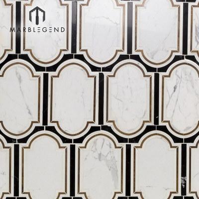 Kitchen backsplash Inara cavalier brass marble waterjet mosaic tile