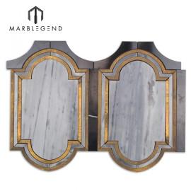 Inara kentucky haze latón y mármol mosaico waterjet para pared o salpicadero