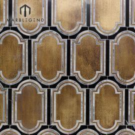 PFM decoración de paredes interiores inara strathmore azulejo de mosaico de chorro de agua de latón y mármol