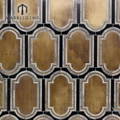 PFM interior wall decor inara strathmore brass and marble waterjet mosaic tile