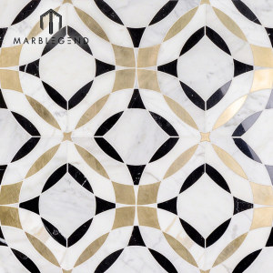 Newly design kaleidoscope magnifique marble waterjet mosaic tile