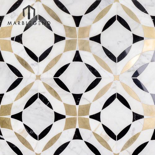 Newly design kaleidoscope magnifique marble waterjet mosaic tile