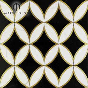 Customized design kaleidoscope oblique marble waterjet mosaic floor tile