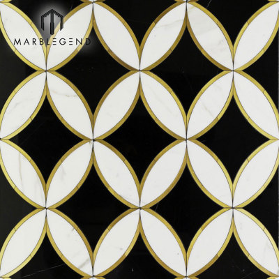 Customized design kaleidoscope oblique marble waterjet mosaic floor tile