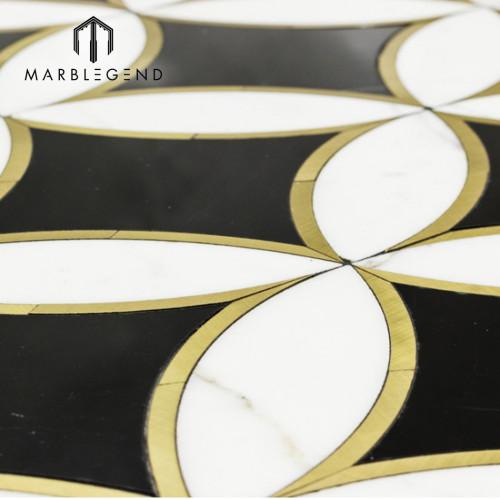 Baldosa de piso modificada para requisitos particulares del mosaico waterjet del mármol oblicuo del mármol del caleidoscopio