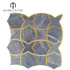 Azulejo de mosaico a chorro de agua de latón y mármol de moirai bardiglio de lujo clásico