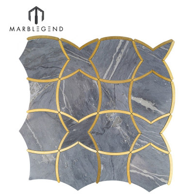 Classic luxury moirai bardiglio marble and brass waterjet mosaic  tile