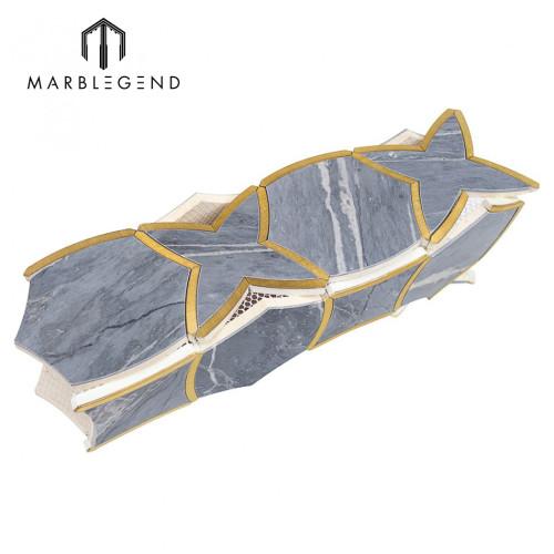Classic luxury moirai bardiglio marble and brass waterjet mosaic  tile