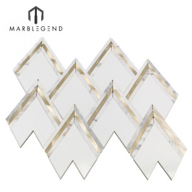 Роскошная мозаика для стены из белого золота с мраморной водоструйной мозаикой vzag