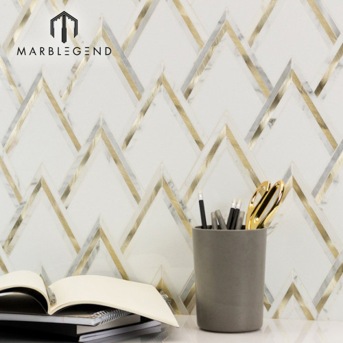Luxurious vzag white gold marble waterjet mosaic tile for wall