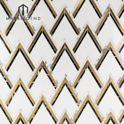 exclusive design backsplash wall vzag Nero And Brass waterjet mosaic tile