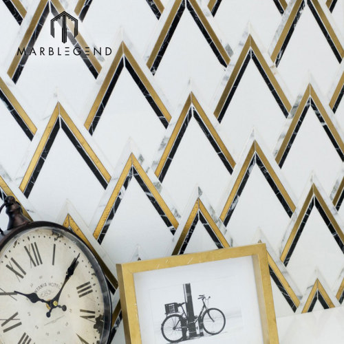 exclusive design backsplash wall vzag Nero And Brass waterjet mosaic tile