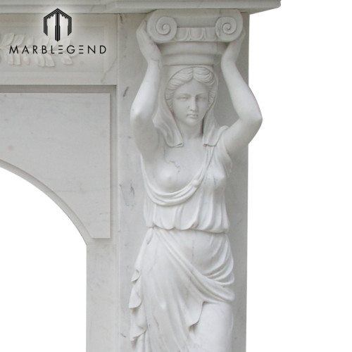 Hand carving woman statue white marble fireplace mantel