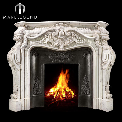 French style carved marble fireplace mantel surround