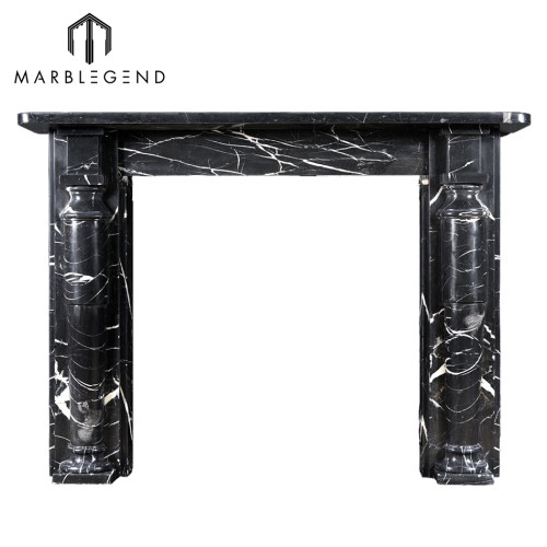 Roman design Hand carved Nero Marquina marble fireplace mantel