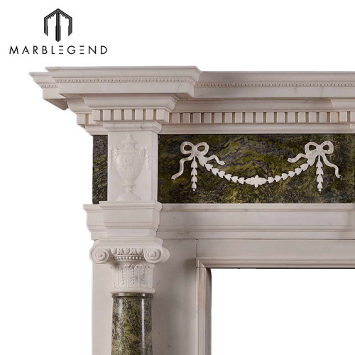 Natural stone carved marble fireplace mantel with columns