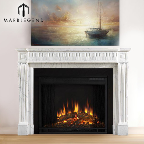 Factory price French style antique white marble fireplace