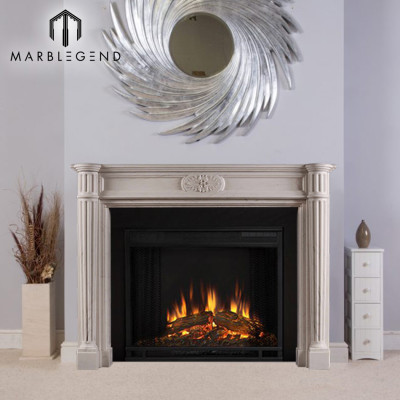 PFM High quality house decorative white carved marble fireplace