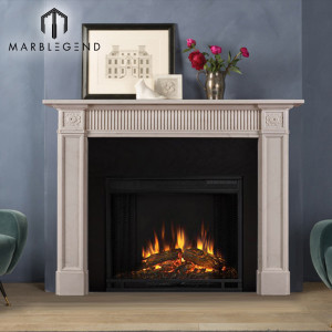 Modern style white marble fireplace mantel for sale