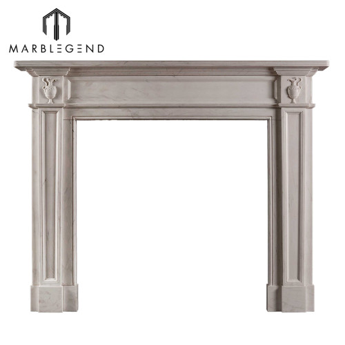 Simple design hand carved white marble stone fireplace surround