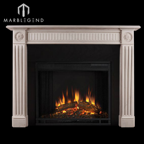 Custom Classical French Style White Marble Fireplace Surround