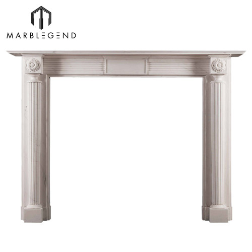 Well polished indoor freestanding white natural stone marble fireplace