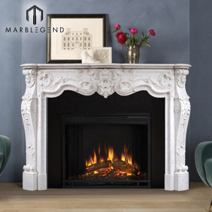 High quality wholesale fireplace mantel white marble for sale