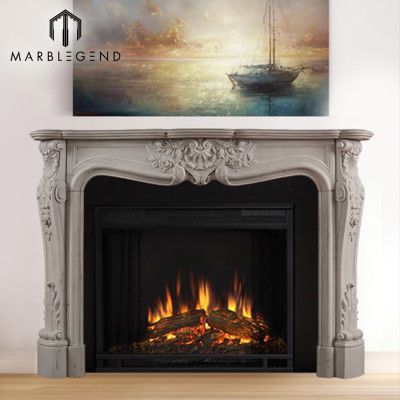 well polished beautiful decorative hand carved marble fireplace surround