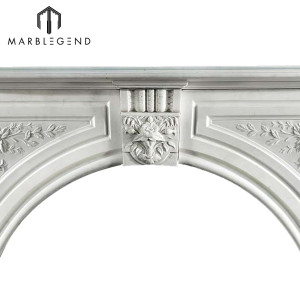 Best selling white marble stone fireplace mantel