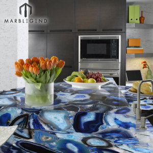 Gemstone Wall and countertop Decor blue agate stone chinese supplier