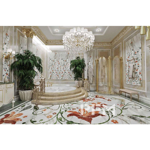 The first marble medallion section installation of villa's bathroom in Chechnya, Russia