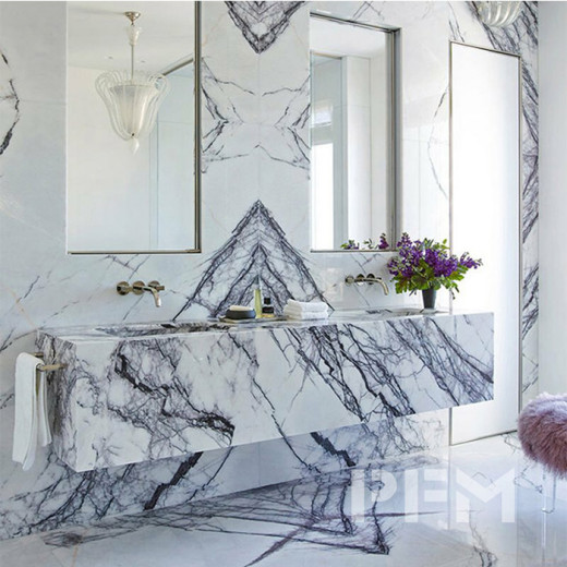 More contemporary minimalist design with marble elements