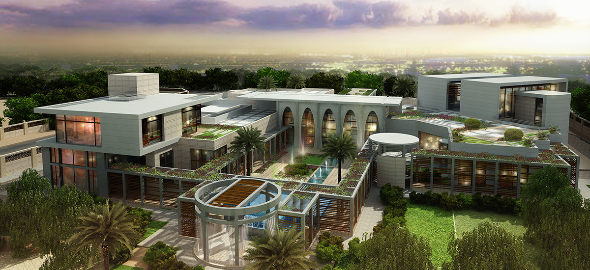 Doha Modern Palace Project-3D diseño de villa exterior