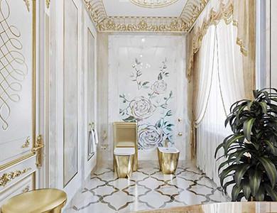 نافورة الشيشان والديكور تصميم حمام الضيف